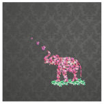 Retro Flower Elephant Pink Sakura Black Damask Fabric