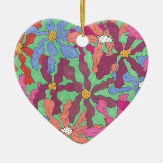 Retro Flower Pattern Boho Design Ceramic Ornament