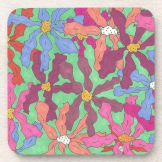 Retro Flower Pattern Boho Design Coaster