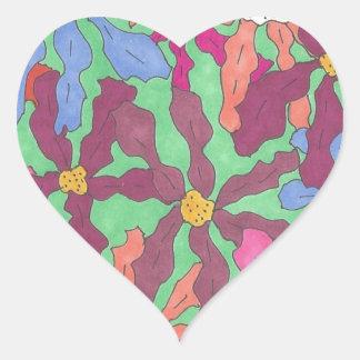Retro Flower Pattern Boho Design Heart Sticker
