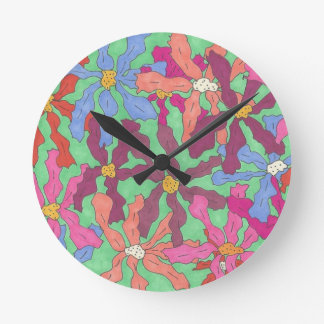 Retro Flower Pattern Boho Design Round Clock