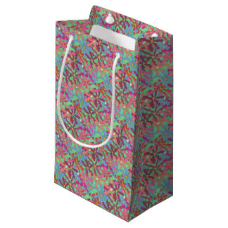 Retro Flower Pattern Boho Design Small Gift Bag