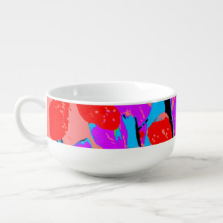 retro flower pink soup bowl with handle