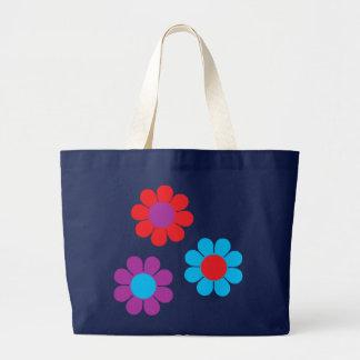 Retro Flower Power Large Tote Bag