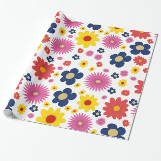 Retro Flower Power Pattern Wrapping Paper