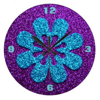 Retro Flower Purple & Blue Glitter Look Large Clock