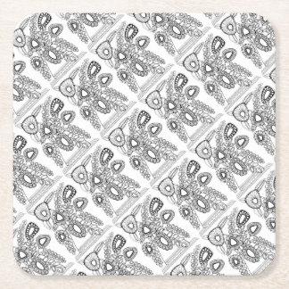 Retro Flower Vase Line Art Design Square Paper Coaster