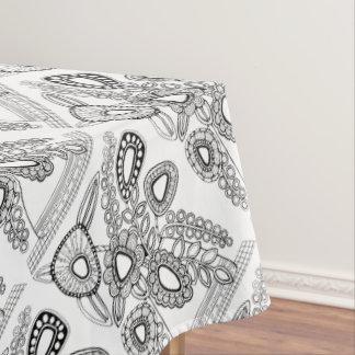 Retro Flower Vase Line Art Design Tablecloth