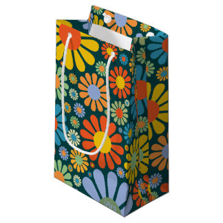 Retro Flowers 70s Pattern Small Gift Bag