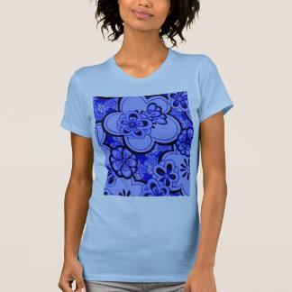 Retro Flowers Abstract Sapphire Women's T-Shirt