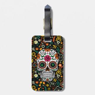 Retro Flowers And Sugar Skull Luggage Tag