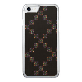 Retro Flowers Checkerboard Carved iPhone 7 Case