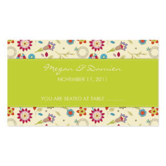 Retro Flowers · Green · Guest Seating Card Business Card Templates