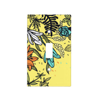 Retro Flowers in White, Teal and Peach Light Switch Cover