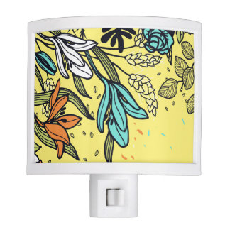 Retro Flowers in White, Teal and Peach Nite Lites