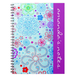 Retro Flowers Notepad Spiral Notebooks