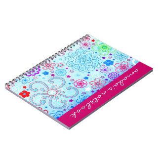 Retro Flowers Notepad Spiral Notebooks