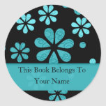 Retro Flowers Personalized Bookplates : Teal Round Stickers