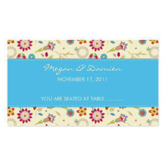 Retro Flowers · Turquoise · Guest Seating Card Business Card