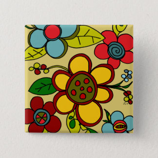Retro Flowers Urban Colors 2 Inch Square Button