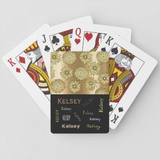 Retro Flowers w/Name Personalization Poker Deck