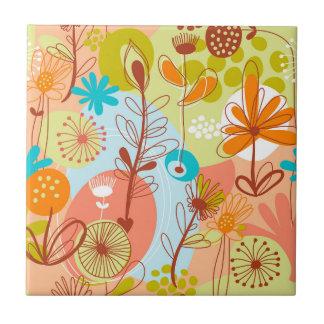 Retro Flowers White, Blue, Salmon, Orange, Yellow Tile
