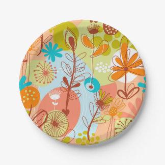 Retro Flowers White, Green, Salmon, Orange, Yellow Paper Plate