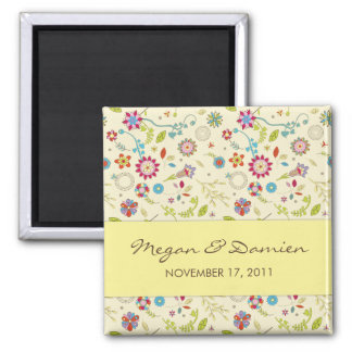 Retro Flowers · Yellow · Save the Date Magnet