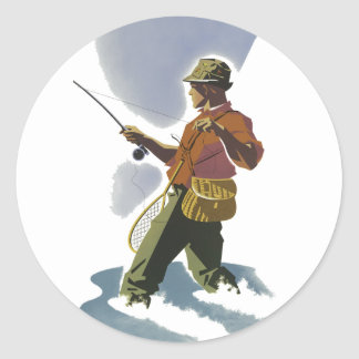 Retro Fly Fishing Classic Round Sticker