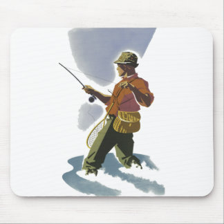 Retro Fly Fishing Mouse Pad