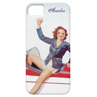 Retro Fly Girl Personalized iPhone 5 Case