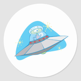 Retro Flying Saucer and Martian. Classic Round Sticker