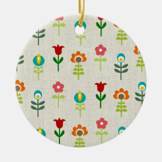 Retro folk flower pattern round ceramic ornament