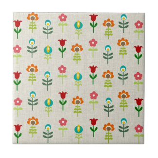 Retro folk flower pattern tile