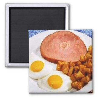 Retro For Dinner Square Magnet