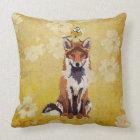 Retro Fox & Little Bird Pillow