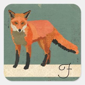 Retro Fox Monogram Sticker