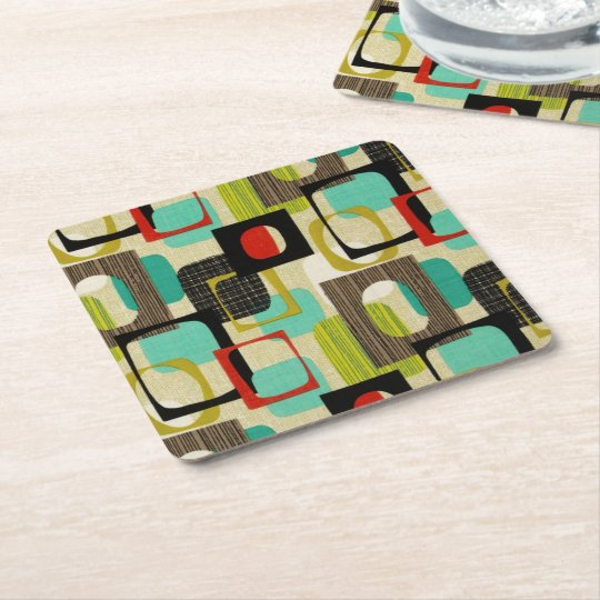 Retro Framed Tan Square Paper Coaster