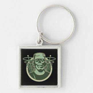 Retro Frankenstein Silver-Colored Square Keychain