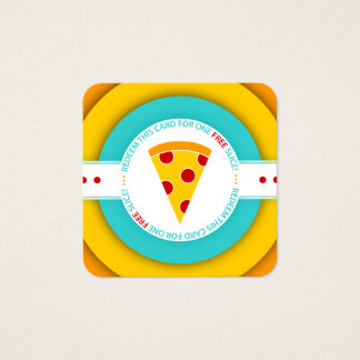 retro FREE PIZZA SLICE coupon Square Business Card