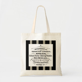 Retro French Coffee Spices Ad Black Linen Stripes Budget Tote Bag