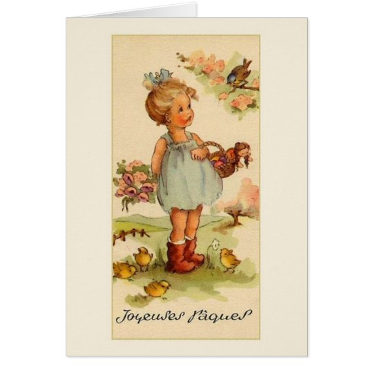 Retro French Easter Greeting Card
