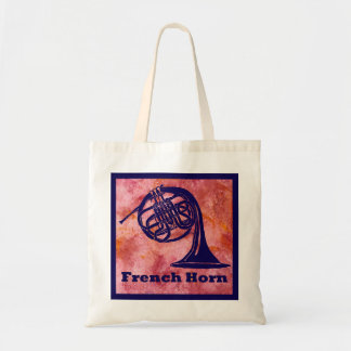 Retro French Horn on Red Tote Bag