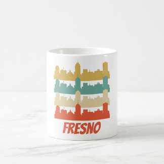 Retro Fresno CA Skyline Pop Art Coffee Mug