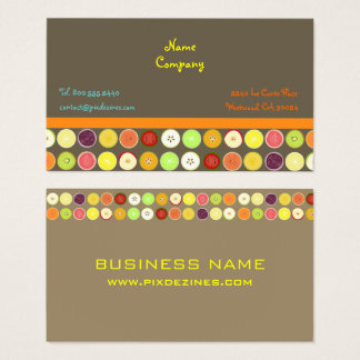 Retro fruit juice ~ ashbrown background business card