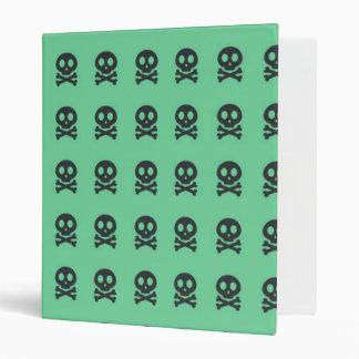 Retro Fun Green Skull Pattern 3 Ring Binder