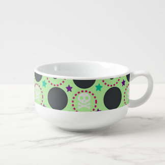 Retro Fun Green Skull Pattern Soup Bowl With Handle