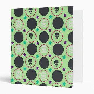 Retro Fun Green Skull Pattern Vinyl Binder