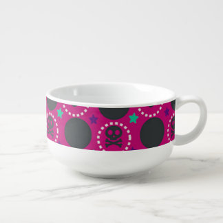Retro Fun Pink Skull Pattern Soup Bowl With Handle