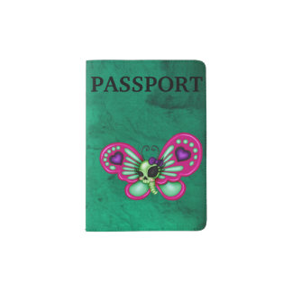 Retro Fun Zombie Butterfly Passport Holder